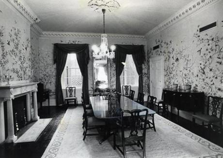 A view of a dining area at the Parkman House in 1975.