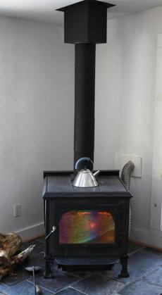 The home's wood buring stove.