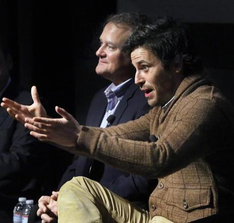 "TALKING SHOP: Actors Hugh Bonneville and Rob James-Collier talk ""Downton Abbey"" at a preview-and-panel evening held in Brighton for WGBH supporters on December 15."