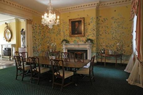 Mayor Menino hosted a staff gathering in the formal dining room at the Parkman House, which has a 14-foot ceiling and a marble fireplace.