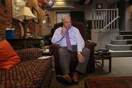 After eight weeks of hospitalization, Menino moved in to the Parkman House on Beacon Street to ease his commute to City Hall as he returned to work in January 2013 after a succession of ailments. The mayor brought his chair from his Hyde Park home.