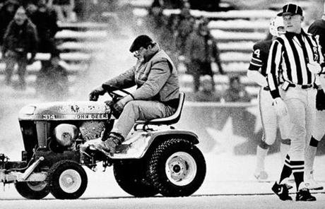 In 1982, snow was cleared for placekicker John Smith seconds before he kicked a winning field goal.