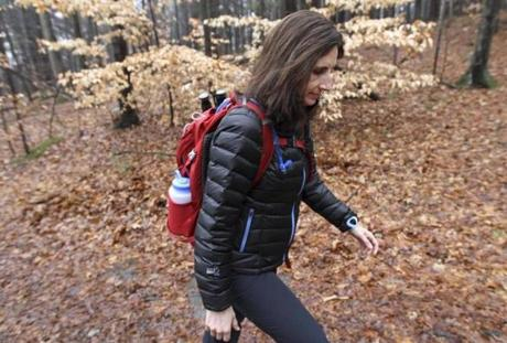 Sherri Floros hikes in the Blue Hills in preparation for her climb of Mt. Kilimanjaro next month.