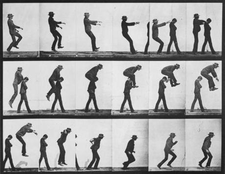 A series of images showing the various positions of a man leap-frogging over the shoulders of another