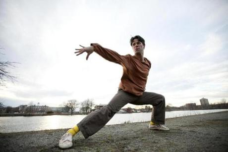 Caleb Cliff of Somerville practiced Shaolin Kung Fu along Memorial Drive in Cambridge.