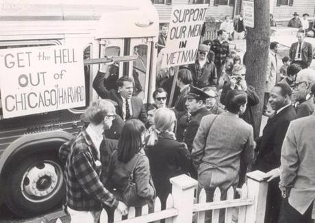 April 23, 1967:  The Rev. Martin Luther King Jr. smiled and spoke with a reporter ignoring shouting picketers in Cambridge as he launched an antiwar campaign called Vietnam Summer. King was seeking 10,000 volunteers to spend the summer organizing a peace campaign across the country. He believed the Vietnam War had hurt the civil rights drive because it had diverted attention and sidetracked antipoverty funds.