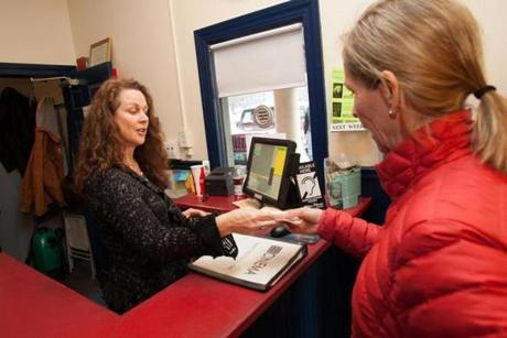 Shelly Gibson, owner of Village Picture Shows Cinema in Manchester Center, Vt., sold tickets to a patron.