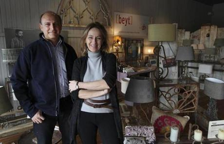 Raja Moubarak (left) and Benedicte de Blavous Moubarak, owners of 2b design, in their shop, Beyt.
