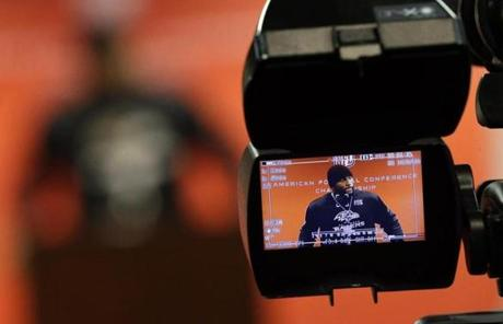 Back in Maryland, a camera focused on Ray Lewis as he reiterated that he intends to retire whenever the Ravens' season ends.