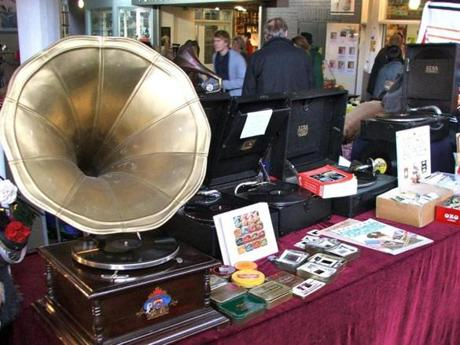 The best Portobello Road stalls for vintage are found under the Westway. This stall specialized in old gramophone and record players