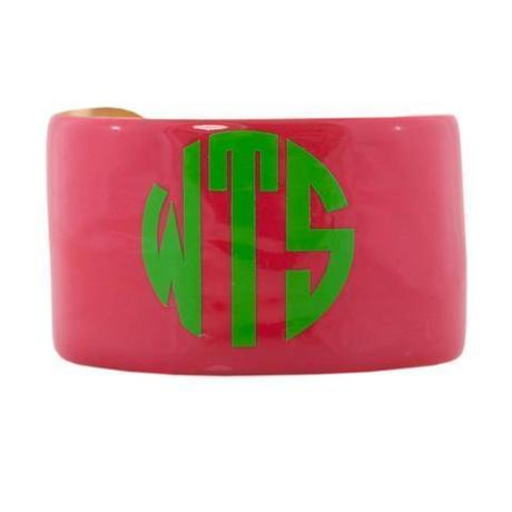 Monogrammed enamel cuff bracelet by Wimberly Inc., $60 at Skirtin Around, 221 Newbury Street, Boston, 857-350-3758, skirtinaround.com