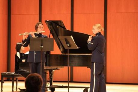 Members of the Air Force Band of Liberty perform at Endicott College in Beverly on Sunday.
