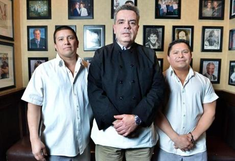 Chef Mark Travassos, center, who began at Frank's in 1982, with, sous chefs Jesus Gonzalez (left), who was hired in 1990, and Jose Amaya, hired in 1996.