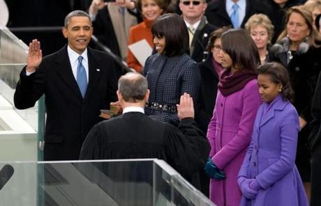 President Obama took the oath of office from Chief Justice John Roberts.