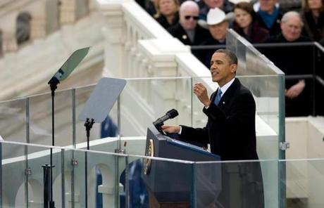 President Obama delivered his inaugural address from the steps of the US Capitol.