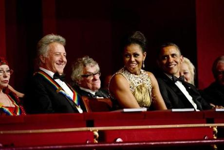 Dustin Hoffman, First Lady Michelle Obama, and President Barack Obama at the 35th Annual Kennedy Center Honors.