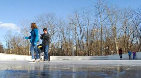 The River Island Park skating rink in Woonsocket.
