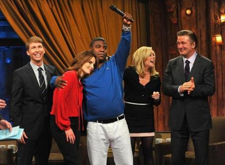 "From left: ""30 Rock"" costars Jack McBrayer, Tina Fey, Tracy Morgan, Jane Krakowski, and Alec Baldwin visited ""Late Night With Jimmy Fallon"" earlier this month."