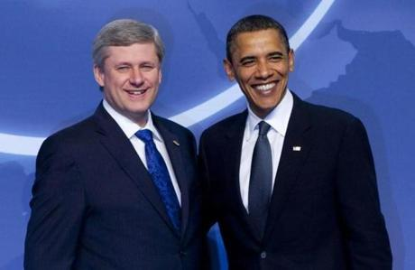 Canadian Prime Minister Stephen Harper and President Barack Obama at the 2010 Nuclear Security Summit in Washington, D.C.