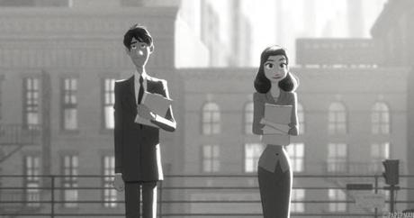 """Paperman,"" a mainstream but blissfully inventive Disney short (with a touch of Pixar magic) about a young couple who meet on a subway platform and try to reconnect via a squadron of paper airplanes from one office tower to another."