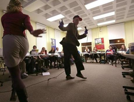 Professor Jonathan Garlick and his co-teacher, Lara Park, got into the groove at a recent class.