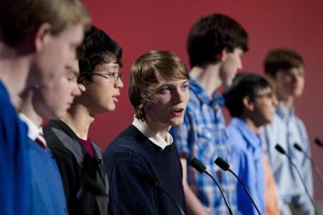"Dan Erdosy, 18, (seen among his teammates from Chelmsford High School) faced off against a team from Wellesley High School during a taping of year three of WGBH's ""High School Quiz Show"" at WGBH's Brighton Studios on Sunday, January 27, 2012."