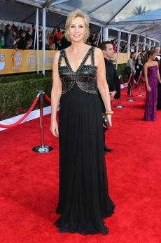 Jane Lynch Four words that should never appear together in the same sentence: Studded leather harness gown.