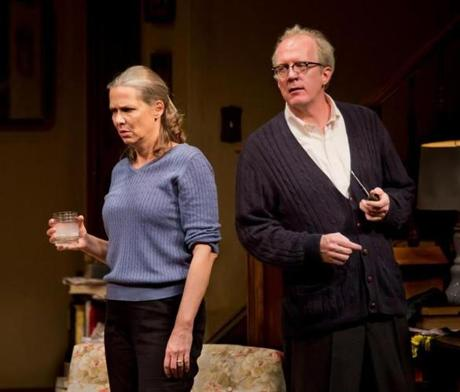 "Amy Morton (left) and Tracy Letts in ""Who's Afraid of Virginia Woolf?"" at the Booth Theatre."