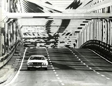 November 29, 1973:  The first solitary car traveled over the newly repaired upper level of the southbound side of the Tobin Bridge. The level had been closed since September 10 when a truck slammed into a column and collapsed a section of the span.