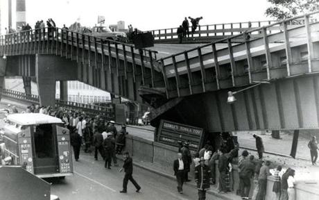 September 10, 1973: A 10-ton gravel truck hauling a load of gravel to the airport as part of the expansion project there hit a girder on the lower deck of the Tobin Bridge and collapsed the upper deck onto the truck. David L. Bettencourt of North Dartmouth was the driver of the truck and was killed in the crash.
