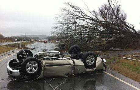 A tornado moved through Adairsville, Ga, on Wednesday, leaving a trail of destruction.