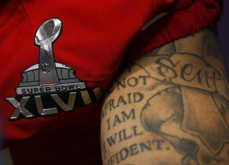 A look at one of Kaepernick's tattooed arms.