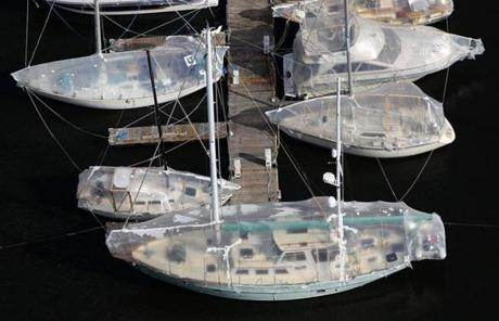 Boats were docked at the Constitution Marina in Charlestown and coverd up in shrink wrap for the winter.