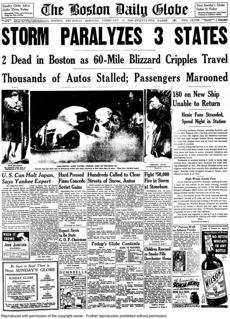 The Boston Daily Globe front page Thursday morning, Feb. 15, 1940