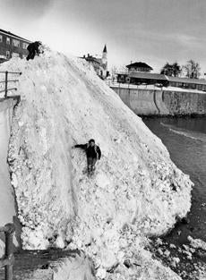 Snow from Swampscott was piled in a huge mound on King Beach.