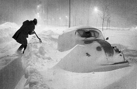 Snow surrounded a car on Morrissey Boulevard in Dorchester during early morning hours on Feb. 7, 1978. The 1978 blizzard blanketed much of the region with snow on Feb. 6 and 7, with 27.1 inches accumulating at Logan Airport.