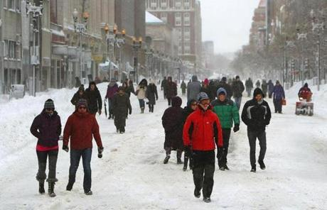 Boylston Street was a pedestrian walkway at midday Saturday.