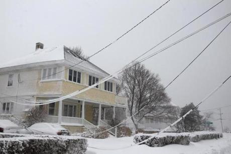 Power lines went down in Scituate.