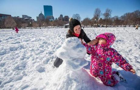 Nareisa Niedl helped her daughter, Olivia, build a snowman in Boston Common.