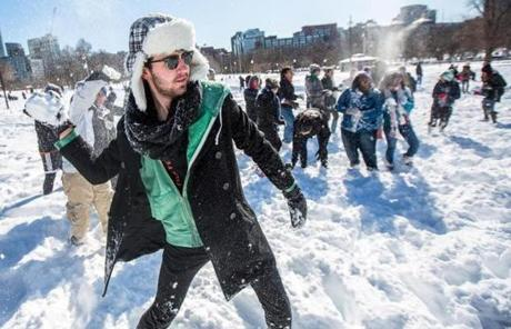 Emerson student Mick Jacobs (left) hurled a snowball.