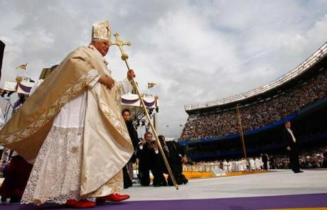 Pope Benedict XVI visited Yankee Stadium in 2008 during a US visit. He also prayed at Ground Zero and met with Boston abuse victims.
