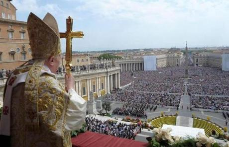 The pope delivered the Urbi and Orbi message after the Easter Holy Mass at St. Peter's Square in 2011.