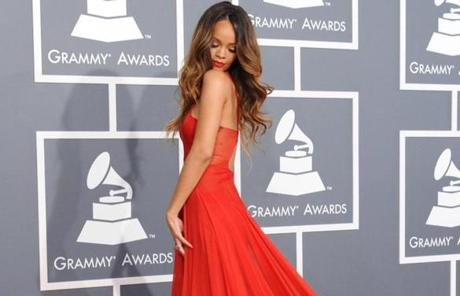 Rihanna wore a custom ruby red Azzedine Alaia gown.