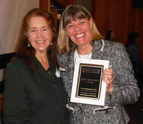 The 2013 School of Social Work,Boston College Distinguished Alumni award was presented by Cheryl Snyder (left), MSW, LICSW of Hingham to Elise Beaulieu (Right) , MSW, ACSW, LICSW of Scituate.