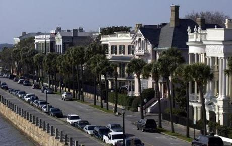 The Battery neighborhood on the tip of Charleston, S.C. overlooks the the Ashley and Cooper rivers.