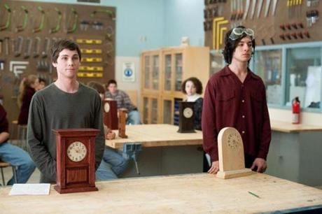 "EzraMiller (right, with Logan Lerman) stood out in a supporting role in ""The Perks of BeingaWallflower."""