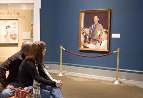 "Museum visitors view Rockwell's ""Four Freedoms: The Freedom of Speech."""