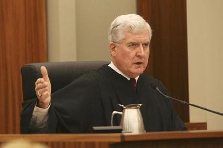 Judge Francis Darigan admonishes those giving victim impact statements to stay within specified guidelines during court proceedings for Michael and Jeffrey Derderian in Kent County Superior Court in Warwick, R.I., Friday, Sept. 29, 2006. The Derderian brothers, owners of The Station nightclub, planned to plead no contest to 100 counts of involuntary manslaughter for the Feb. 20, 2003, blaze at the club. (AP Photo/Bob Breidenbach, Pool) -- Library Tag 09302006 National-Foreign