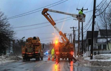 NStar crews worked along Ocean Street in Marshfield on Monday.