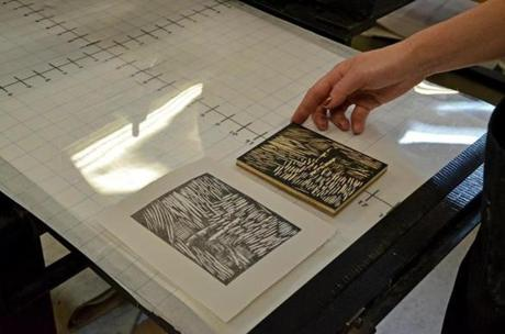 The woodcut and resulting print created by an Art New England participant, Gillian Furniss of New York City.